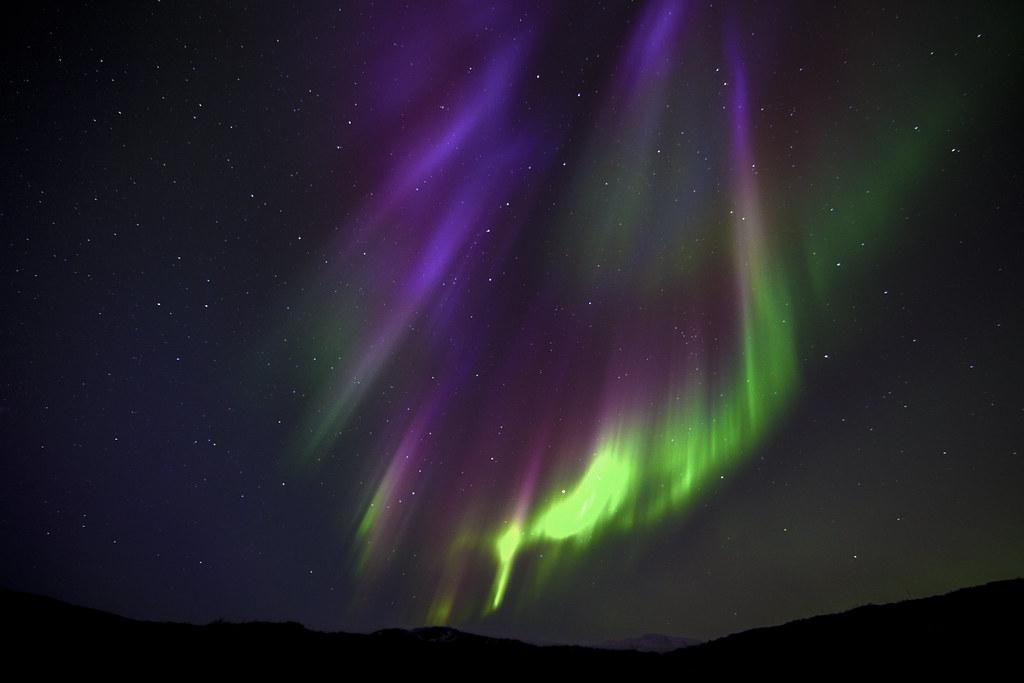 Aurora borealis at Hraunfossar - Iceland