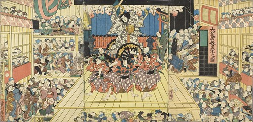 Picture of a Crowded Theater Hosting Performance of Sugawara Denju Tenarai Kagami LACMA M.2006.136.291a-c