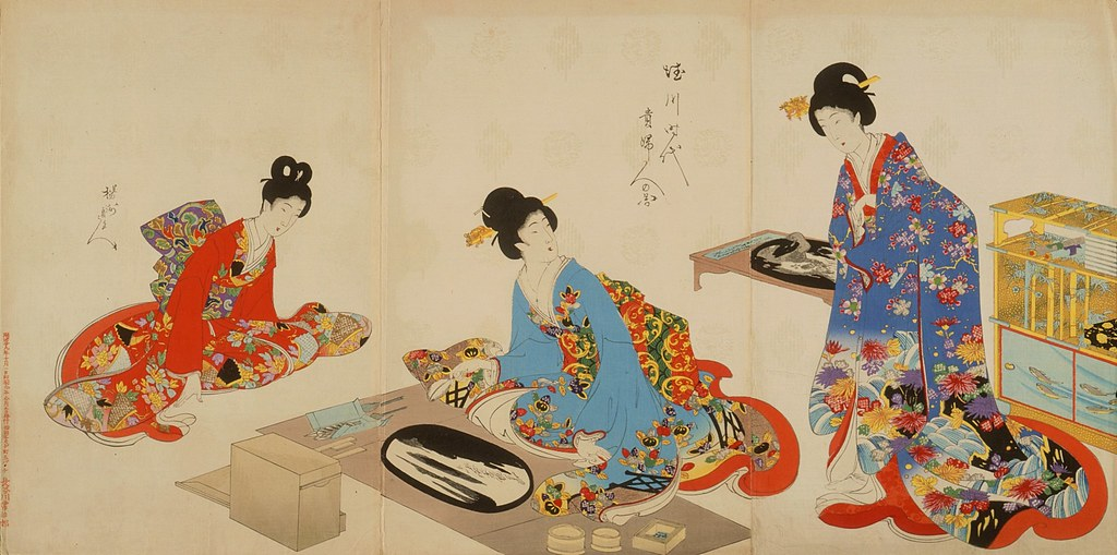 Women's Activities of the Tokugawa Era- Creating Bonkei Tray Landscapes LACMA AC1998.235.1.1-.3