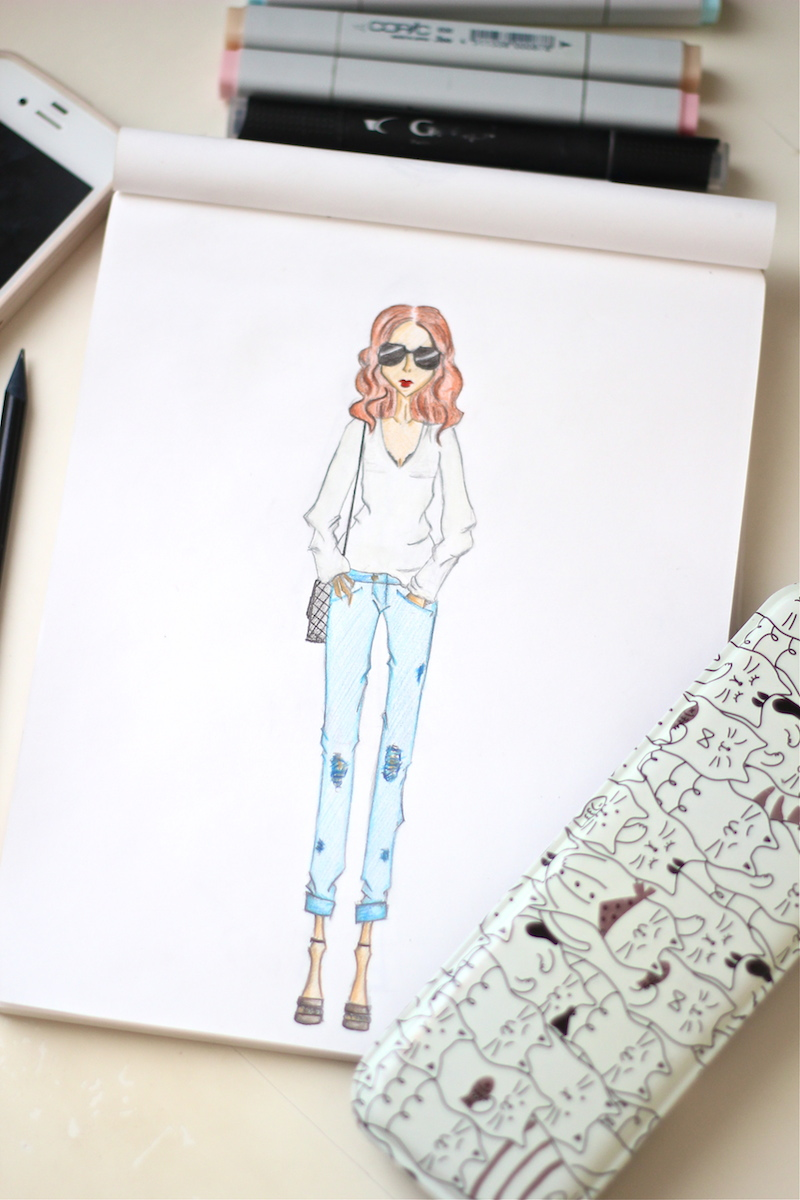 Boyfriend jeans and fancy glasses