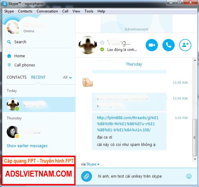 Chat có dấu trên skype