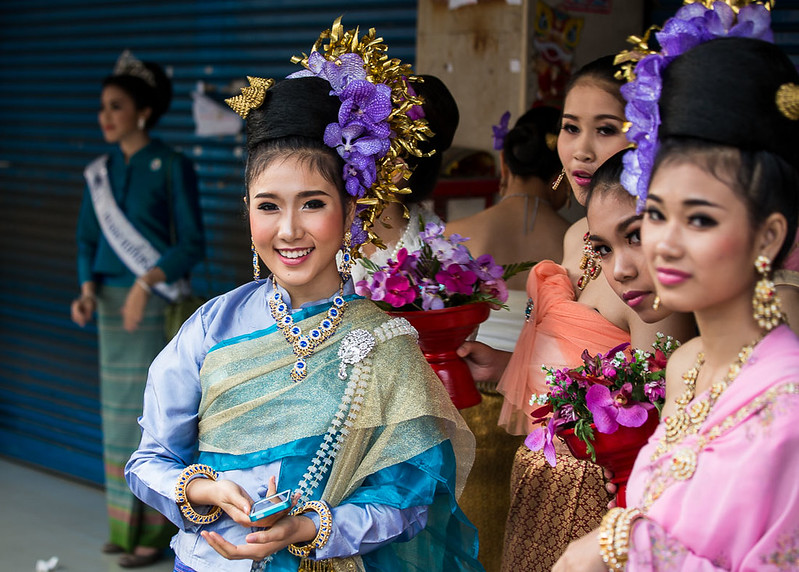 Thai People in Traditional Dress Waiting to Join the Chiang Mai Flower Festival Parade 61
