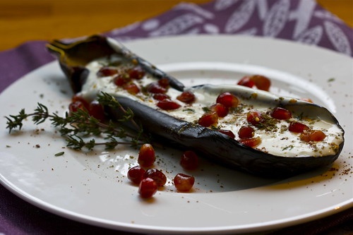 Ottolenghi's aubergine with buttermilk sauce & pomegranate seeds