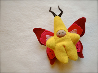 Yellow/Pink BUTTERFLY: tan