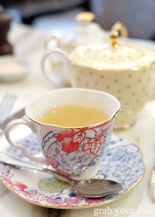 Wedgwood fine china tea set at The Palace Tea Room, QVB, Sydney