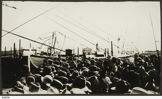 "View of crowds waiting to see Mawson's ship ""Discovery"" at Port Adelaide. - Photograph courtesy of the State Library of South Australia"