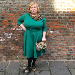A touch of leopard. Dress boden, heels unisa, brooch, scarf + muff/handbag vintage