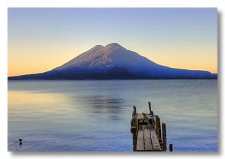 Panajachel GCA  - Lago de Atitlan with first sunlight over Volcán Tolimán 03