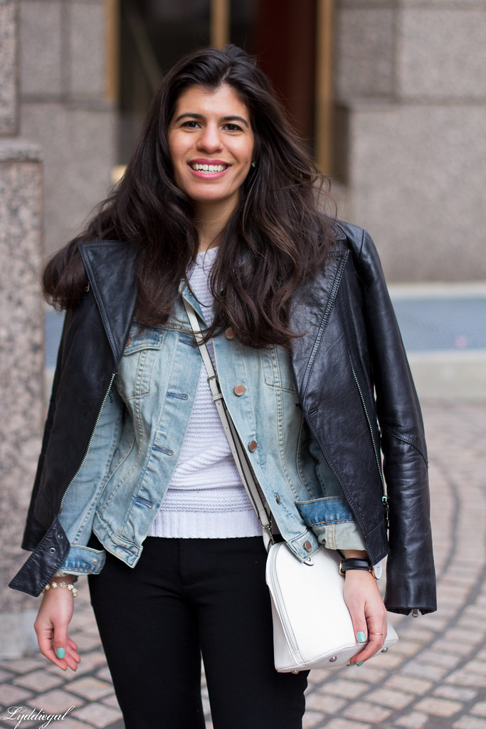 Leather jacket over denim jacket, mint green trainers-8.jpg