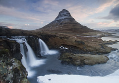 Kirkjufell and the upper falls at Kirkjufellfoss