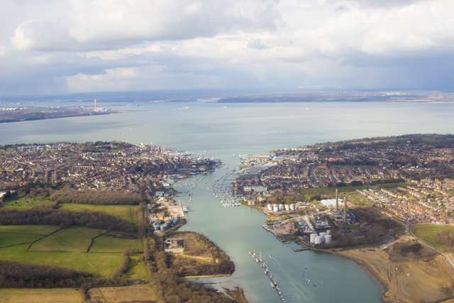 view of Isle Of Wight from a helicopter