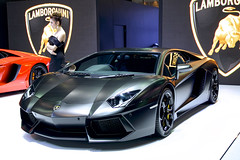 Black Lamborghini at the 36th Bangkok International Motor Show