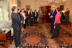 U.S. Secretary of State John Kerry addresses former Assistant Secretary of State for Western Hemisphere Affairs Roberta Jacobson's colleagues and staff before swearing her in as the new U.S. Ambassador to Mexico during a ceremony at the U.S. Department of State in Washington, D.C., on May 5, 2016. [State Department photo/ Public Domain]