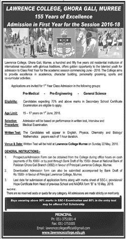 LAWRENCE COLLEGE GHORA GALI Admission 2016