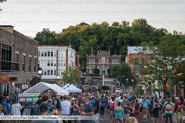 Looking down Court Street to the stage during Boogie on the Bricks