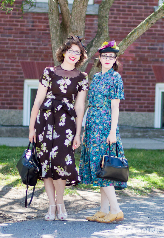 Vintage friends decked out in 1940s daytime looks - Novelty print 1940s floral rayon dresses are the order of the day.