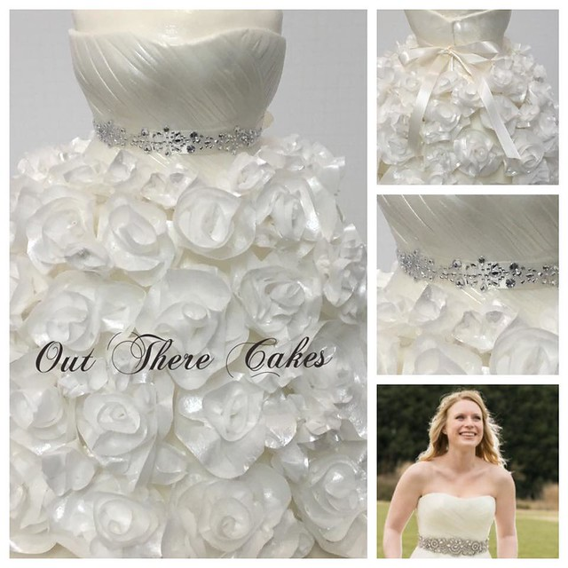 Bride and her Wedding Cake Dress by Kelly Joel of Out There Cakes