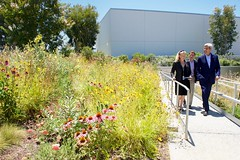 U.S. Secretary of State John Kerry walks with Facebook employees Brenda Tierney and Brian Rice as he views the rooftop garden at the new Facebook headquarters in Menlo Park, California, while visiting the social media company after addressing delegates at the 2016 Global Entrepreneurial Summit at nearby Stanford University. [State Department photo/ Public Domain]