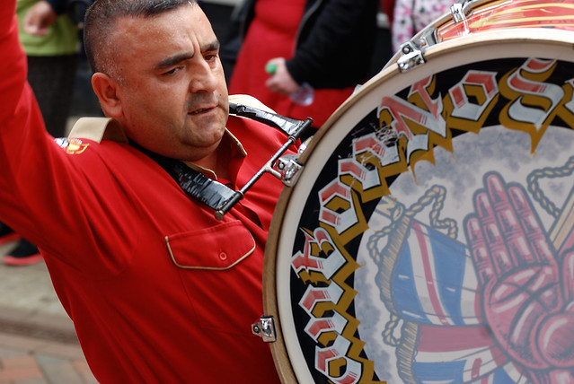 DSC_2289a - The East of Scotland Boyne Parade - Falkirk Scotland - 25 June 2016. The event hosted by Falkirk was organised by The County Grand Lodge of the East of Scotland. The Loyalist Drummer beats his Bass Drum.