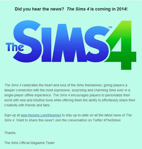 Sims 4 Newsletter