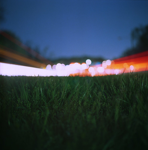 road longexposure 6x6 film grass night analog mediumformat dark square traffic kodak bokeh pavement hasselblad 100 asphalt ektar hasselblad500cm twominutes