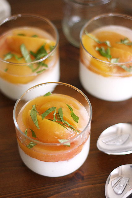 prosecco-poached peaches + liberte coconut yogurt