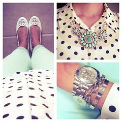 Minty, dotted, and preppy today. :) #jcrew #forever21 #toryburch #ootd #instastyle