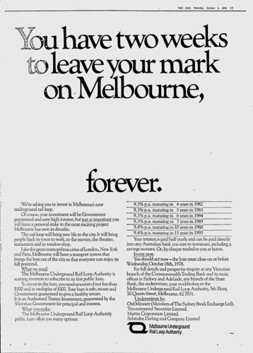 """You have two weeks to leave your mark on Melbourne, forever"""