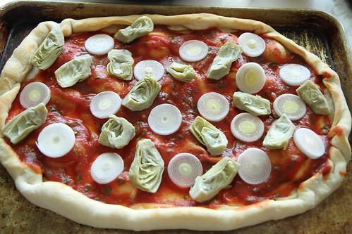 Artichoke, Leek, Prosciutto and Pea Pizza