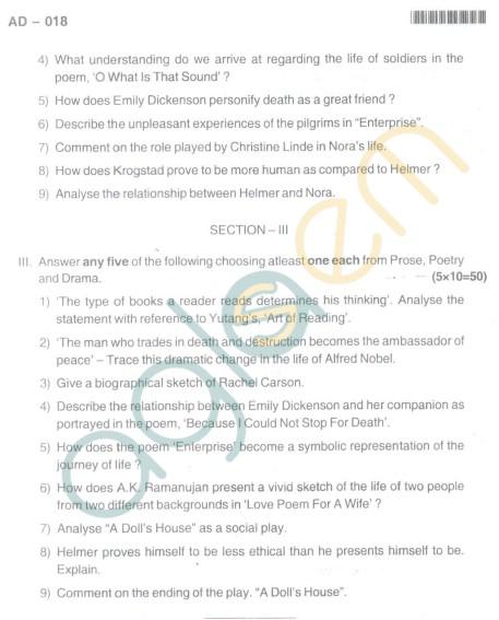 Bangalore University Question Paper Oct 2012 I Year BBM - Additional English Paper I