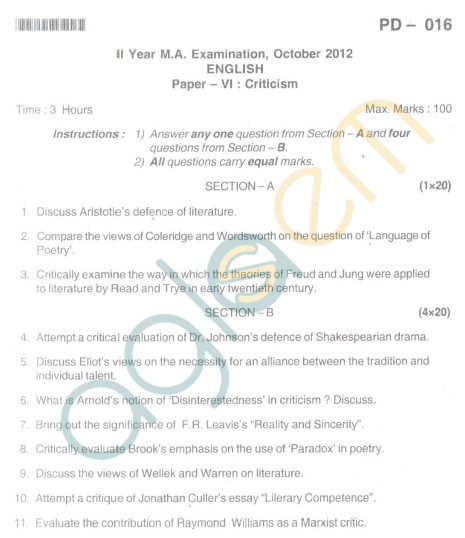 Bangalore University Question Paper Oct 2012: II Year M.A. - English Paper VI Critism