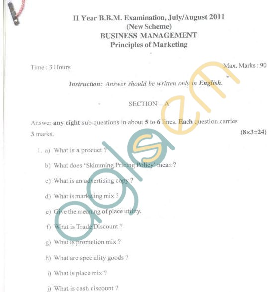 Bangalore University Question Paper July/August 2011 II Year BBM Examination - Business Management, Principles of Marketing
