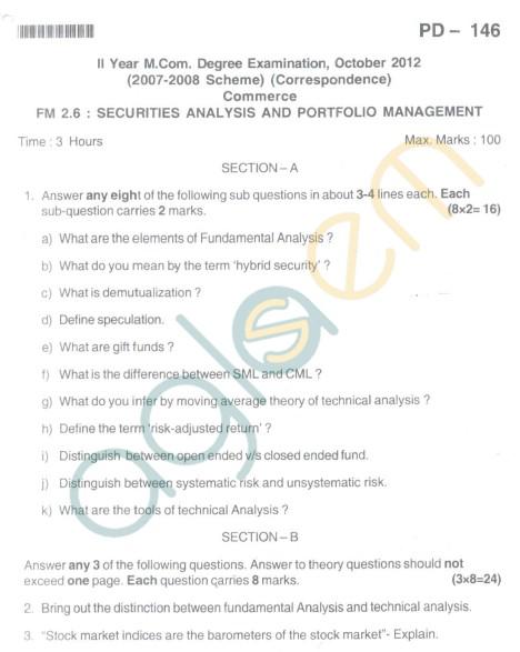 Bangalore University Question Paper Oct 2012II Year M.Com. - Commerce Securities Analysis And PortFolio Management