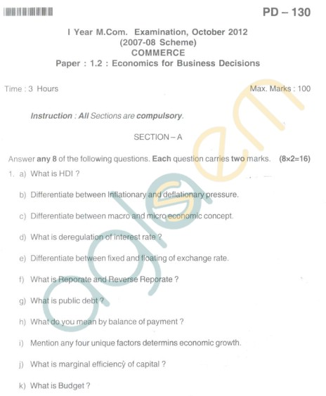 Bangalore University Question Paper Oct 2012 I Year M.Com. - Commerce paper : 1.2 : Economics for Business Decisions