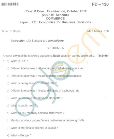 Bangalore University Question Paper Oct 2012I Year M.Com. - Commerce paper : 1.2 : Economics for Business Decisions