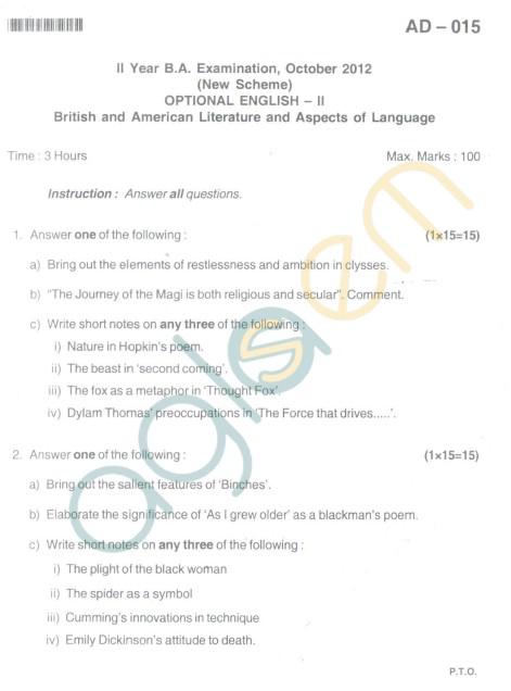 Bangalore University Question Paper Oct 2012II Year B.A. Examination - Optional English II (New Scheme)