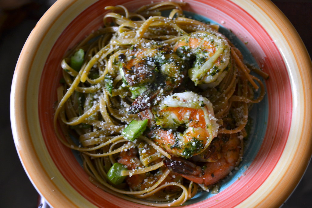 Whole Wheat Linguine with Shaved Asparagus and Shrimp