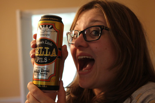 Jen with Oksar Blues Mama's Little Yella Pils on Mother's Day