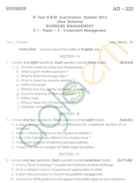 Bangalore University Question Paper Oct 2012 III Year BBM - Business Management Invest Management