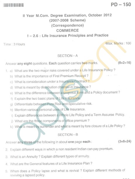 Bangalore University Question Paper Oct 2012II Year M.Com. - Commerce Life Insurance Principles And Practice