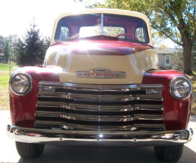 1951 Chevy 3100 Pick Up Truck  Red and cream two tone