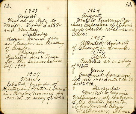 Francis Gevrier Guittard's diary, open to 1902-1906