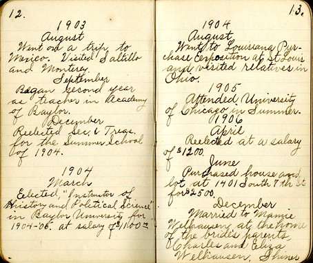 Francis Gevrier Guittard's diary, open to 1902-1906 ...