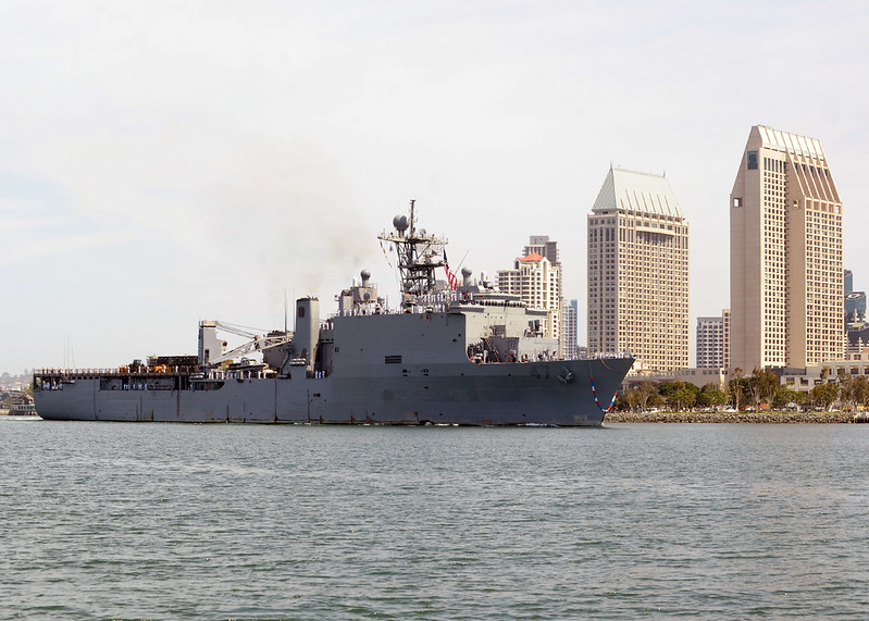 SAN DIEGO - Amphibious dock landing ship USS Rushmore (LSD 47), returns to Naval Base San Diego as part of the Peleliu Amphibious Ready Group (PELARG).