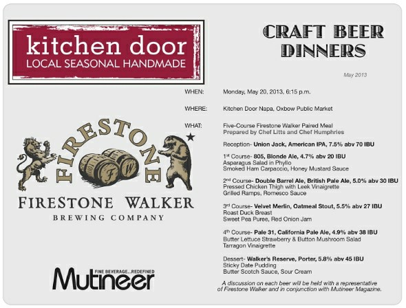 Firestone Walker Kitchen Door Beer Dinner Menu May 2013