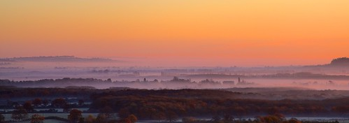 morning autumn trees sky mist fall sunrise frost tonemapped