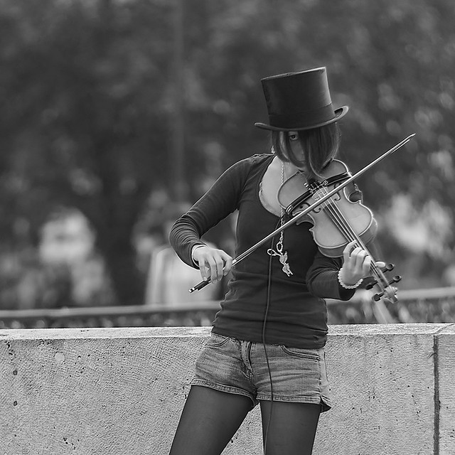 mysterious Lady Grasshopper plays her violin (II)