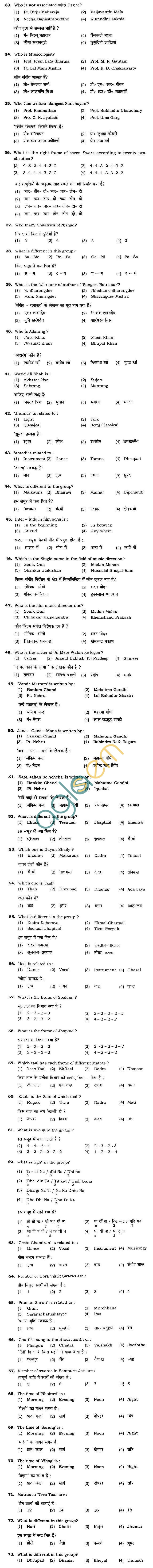 BHU UET 2010 B.Music Vocal Question Paper