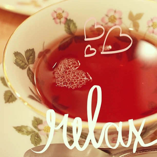 Heart shape bubble in my teacup:) I feel lil sick today, and need to relax... #beautifulmess #ichigonewjourney