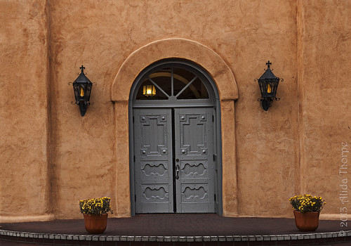 albuquerque church door by Alida's Photos